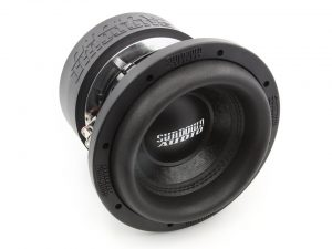 A car subwoofer, outside an enclosure, free of wiring against a white background.