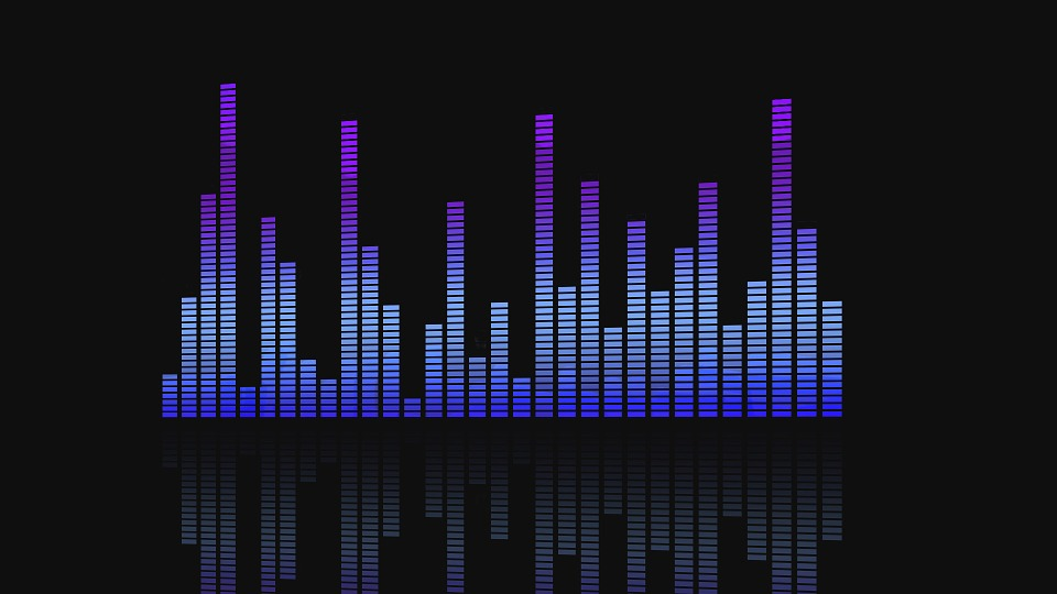 A graphical representation of an audio equalizer, set against a black background.