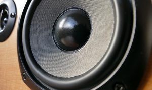 A set of car stereo speakers.
